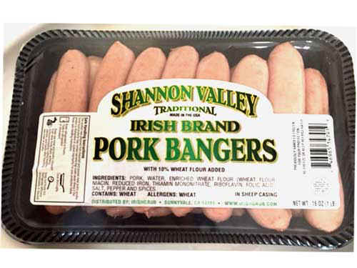 Breakfast Style Pork Bangers 1lb irish, imported, bacon, pork, bangers, sausage
